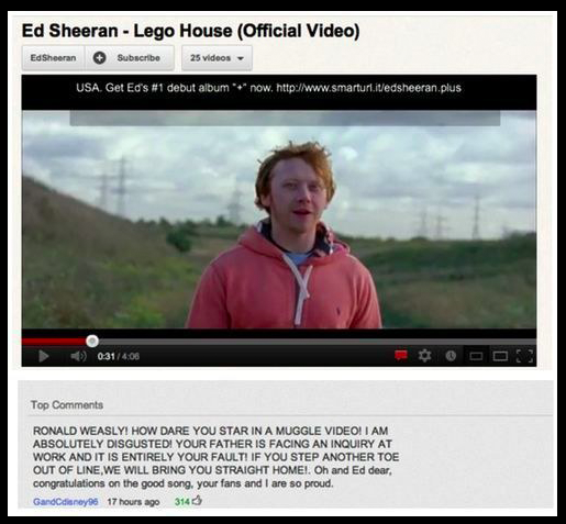 Crazy 8 Harry Potter And The Time Ron Left To Work With Ed Sheeran Worlds Most Awesome 26 Youtube Comments That Will Actually Make You Laugh