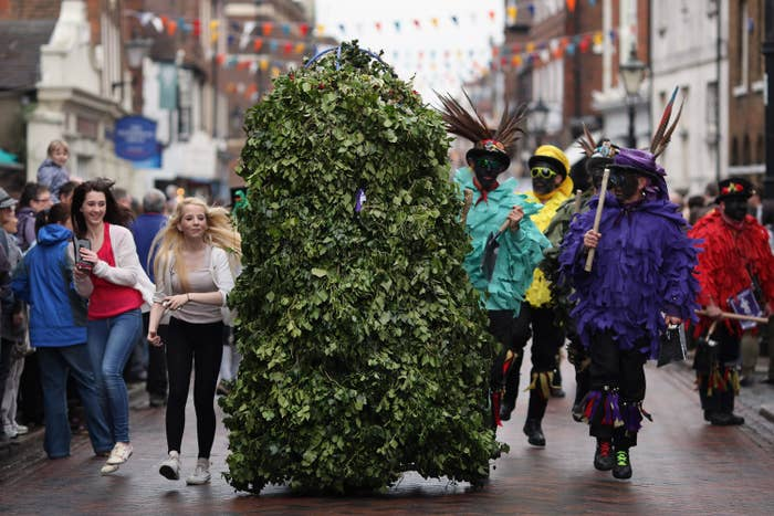 """This is essentially following a man dressed as bush through a town. Great, right?In places such as Rochester and Hastings on the May Bank Holiday every year, participants wearing a large frame covered in foliage stroll through the streets, followed by """"bogies"""" and a Morris group. The tradition originally started as legalised begging for out-of-work chimney sweeps during the summer months with just a garland around the participants neck – but as you can see, the costume has, well, grown."""