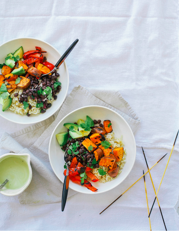 Simple Grilled Sweet Potato and Black Bean Burrito Bowls (With Spicy Cumin Garlic Drizzle)
