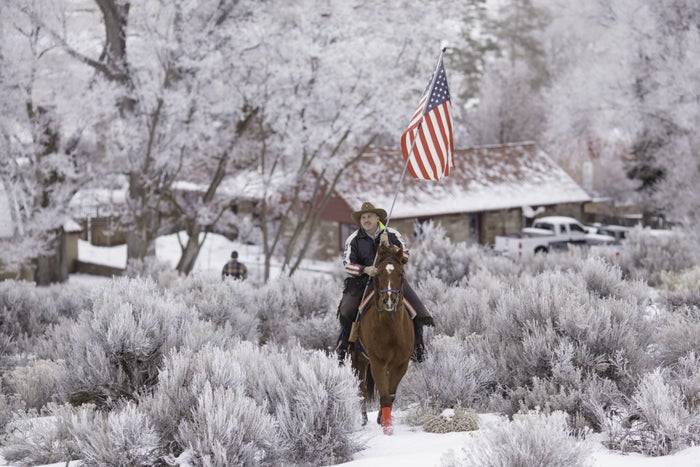 Duane Ehmer rides his horse Hellboy at the occupied Malheur National Wildlife Refuge on Jan. 7.