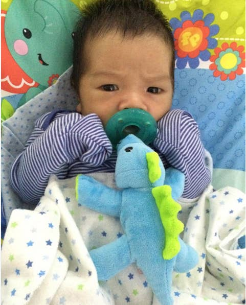 """""""It's a pacifier attached to a plush animal with weighted beanbag material in the paws. Before we got one, my baby knocked his pacifier out of his mouth and cried until it was reinserted dozens of times a day."""" —Sana Ahmed, FacebookGet it here for $12.95."""