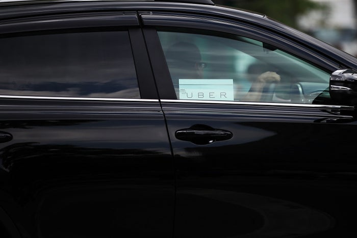 An Uber vehicle is viewed in Manhattan