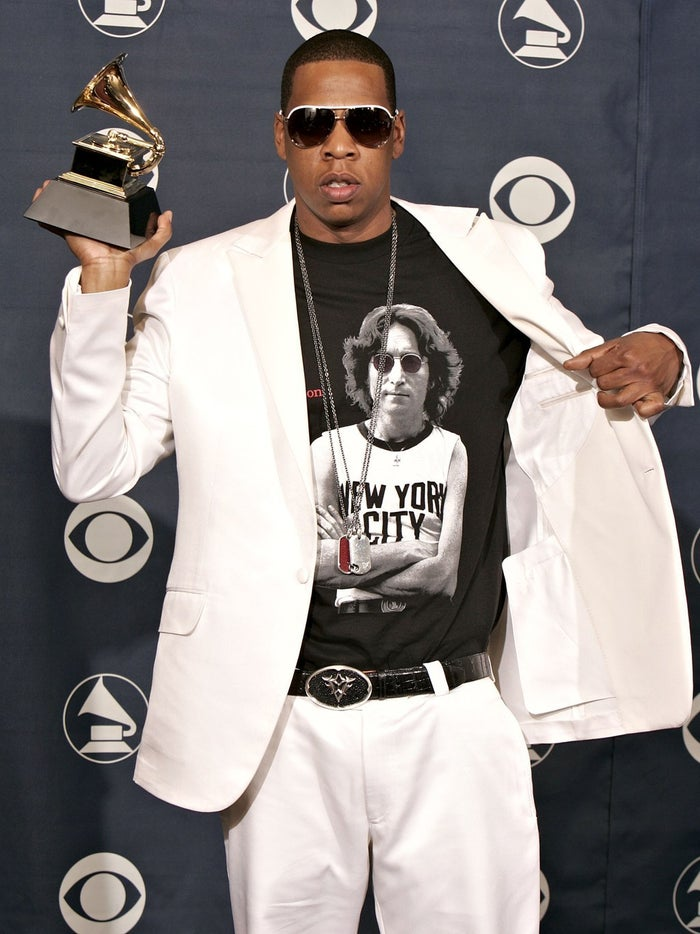 Graphic tee: check, ill-fitting suit: check, ridiculous jewelry: check, Grammy: check.