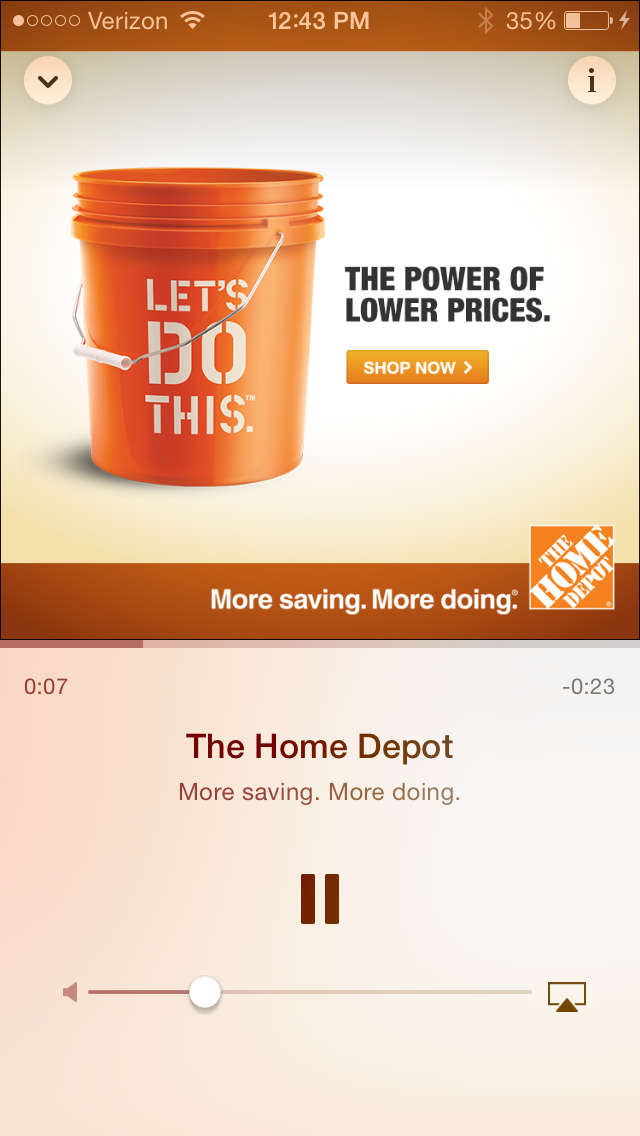 An ad in iTunes Radio.