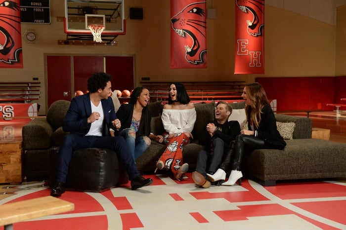 The stars, who gathered to film at a high school gym in suburban Los Angeles, also sat down for an interview with Radio Disney's Ernie D, which will air during Radio Disney Insider on Thursday, Jan. 21 on Disney Channel.