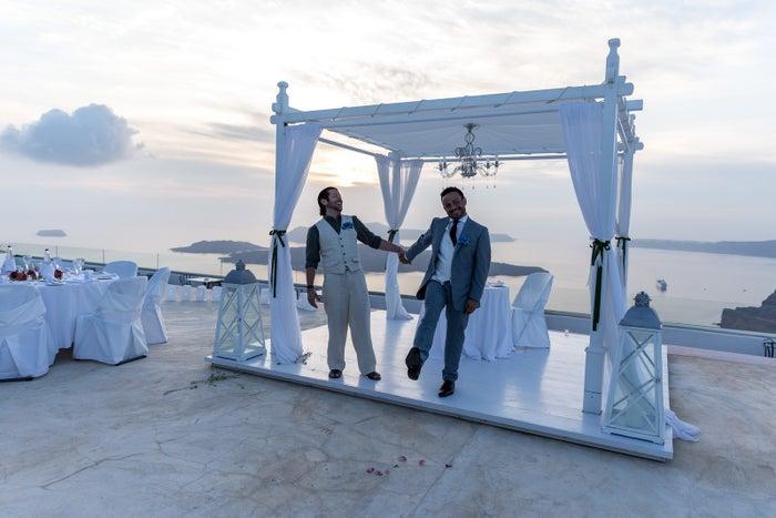 The Bulmer-Rizzis at the wedding ceremony in Santorini, 2015.