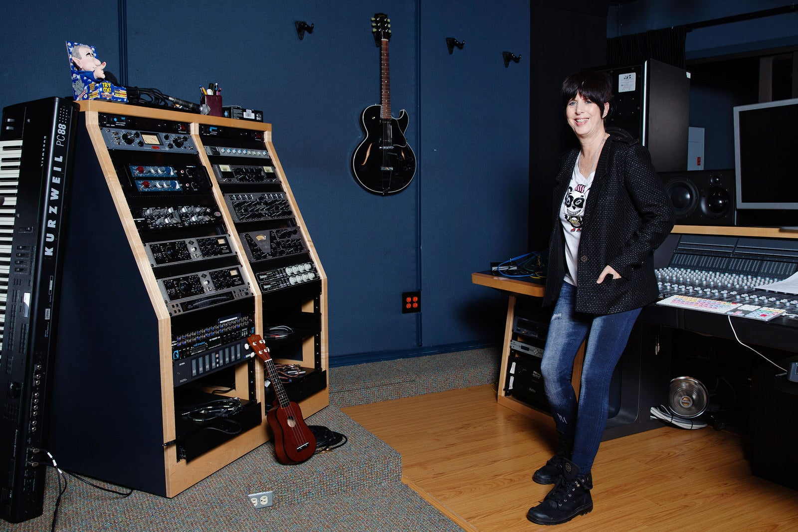 Warren in one of the two recording studios in the Realsongs office.