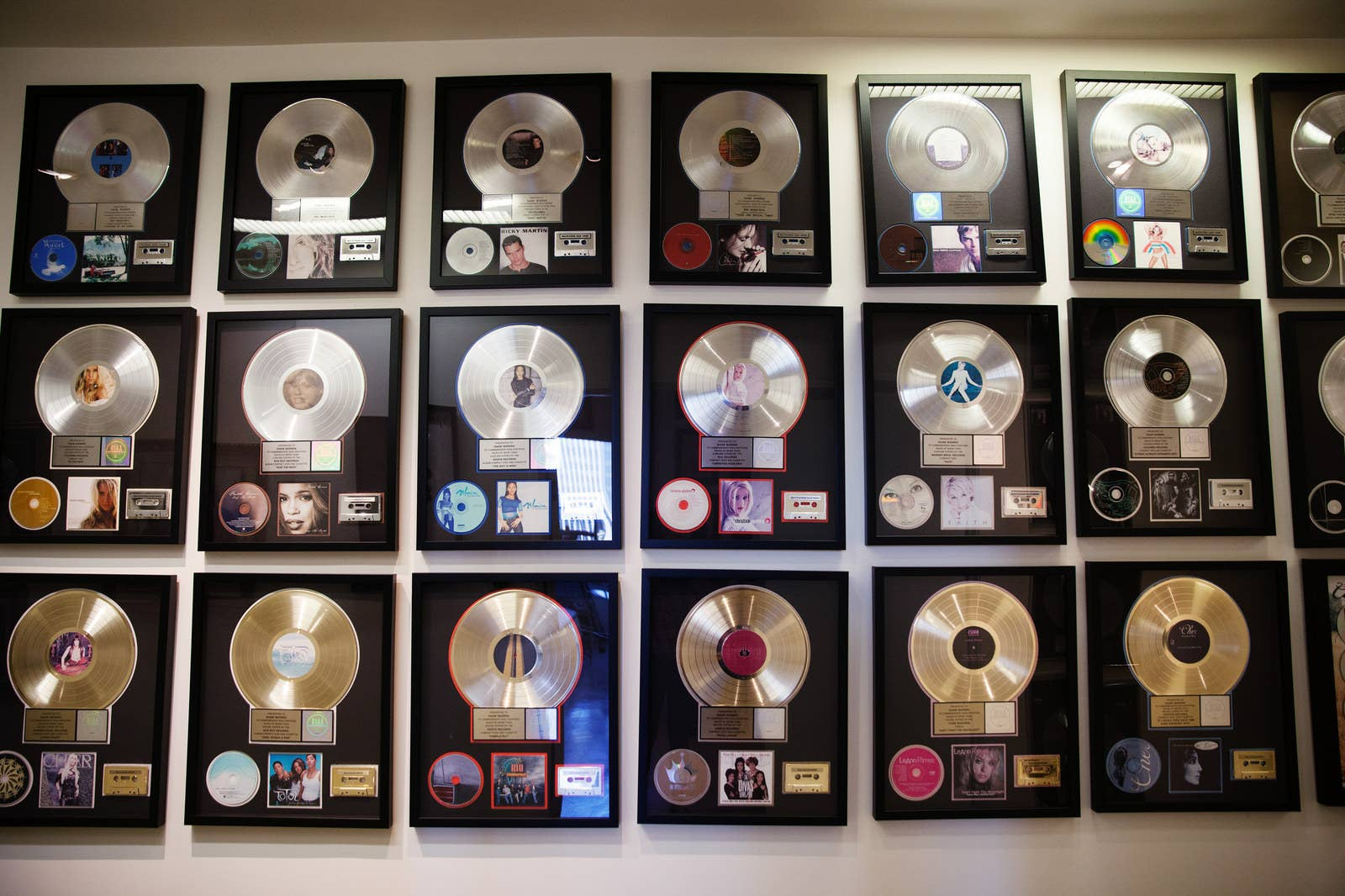 Dozens of Warren's gold and platinum albums line the hallways of  Realsongs