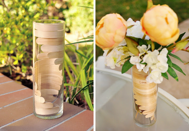 Warp some sticks into an elegant flower vase: