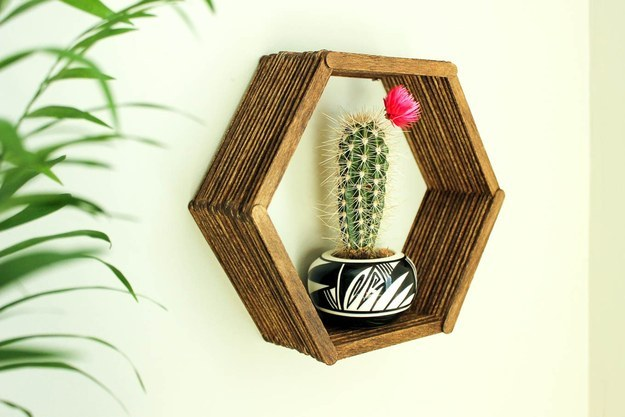 This hexagonal shelf for your most precious of knick knacks: