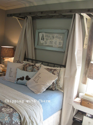 Beau Transform A Wooden Ladder And Some Linen Fabric Into A Rustic Canopy.