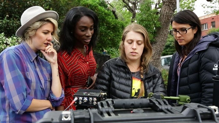 Zak, actor Angelica Ross, cinematographer Bérénice Eveno, and director Sydney Freeland confer on the set of Her Story.