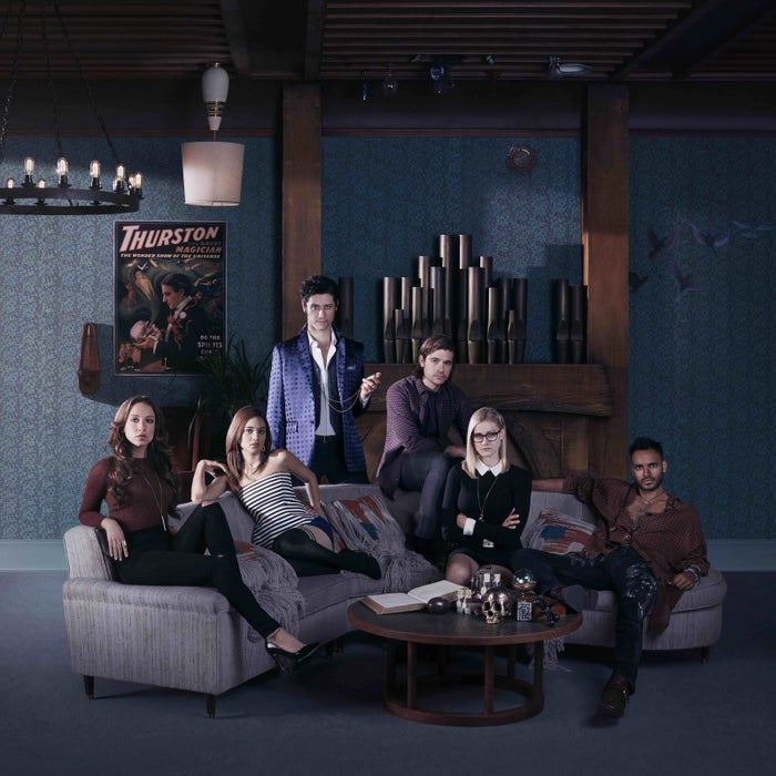 From left: Stella Maeve as Julia, Summer Bishil as Margo, Hale Appleman as Eliot, Jason Ralph as Quentin, Olivia Taylor Dudley as Alice, Arjun Gupta as Penny.