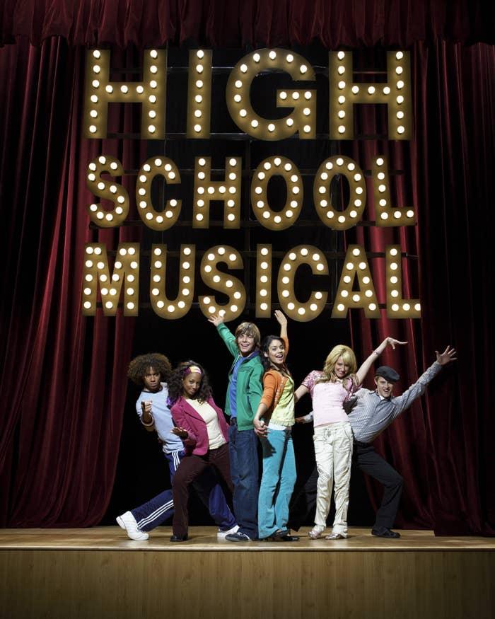 Corbin Bleu as Chad Danforth, Monique Coleman as Taylor McKessie, Zac Efron as Troy Bolton, Vanessa Hudgens as Gabriella Montez, Ashley Tisdale as Sharpay Evans, and Lucas Grabeel as Ryan Evans.