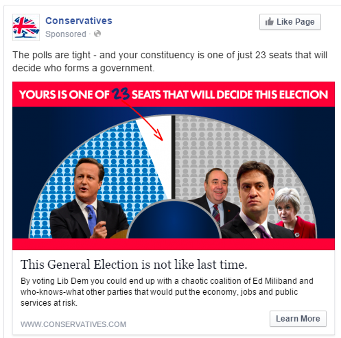 A typical Facebook advert targeted at voters in marginal constituencies.