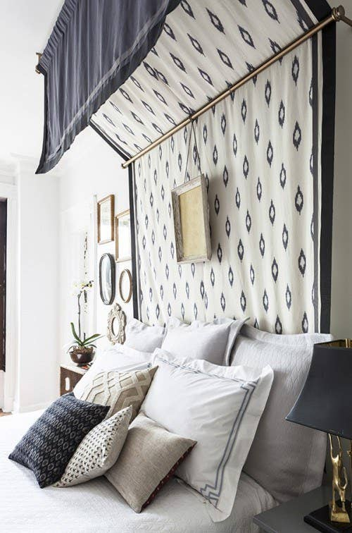 Use a thick patterned fabric to make a canopy that doubles as a headboard.