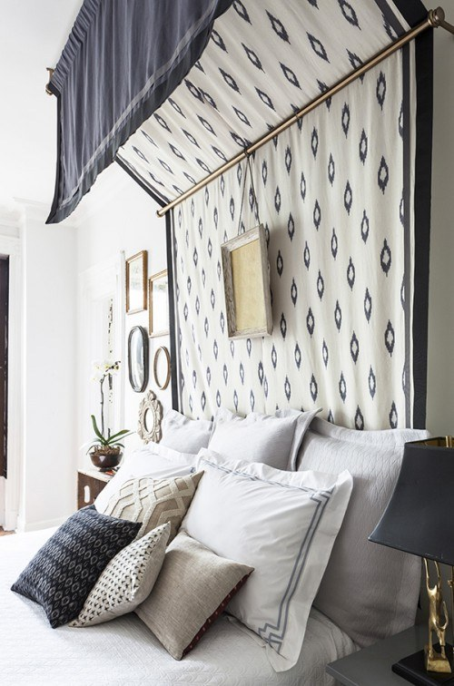 Use a thick patterned fabric to make a canopy that doubles as a headboard. & 14 DIY Canopies You Need To Make For Your Bedroom