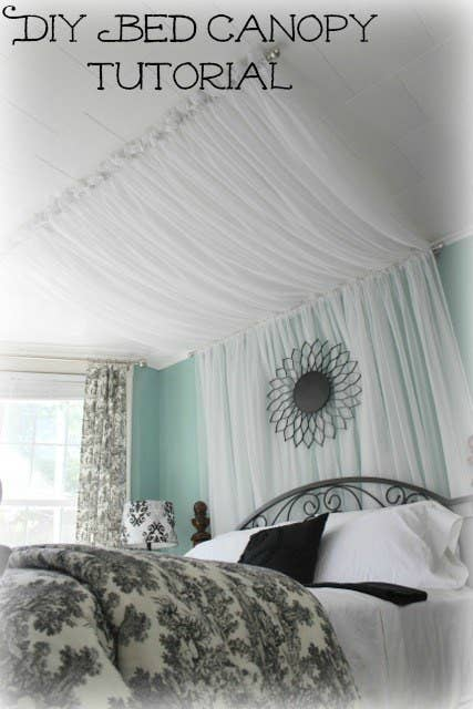 14 Diy Canopies You Need To Make For, Queen Size Canopy Bed With Curtains