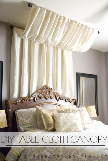 3. Use a curtain rod and a table cloth for a cheap Marie Antoinette ~vibe~. & 14 DIY Canopies You Need To Make For Your Bedroom