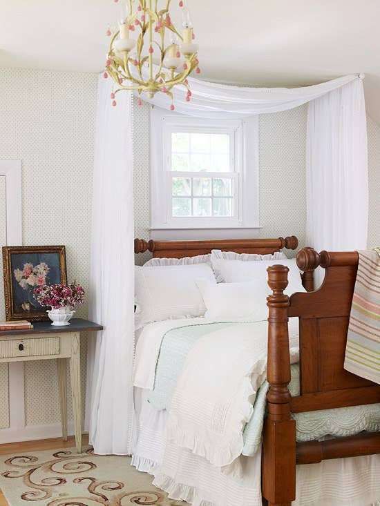 Make Your Room Extra Cozy With Two Mini Curtain Rods And Some Fabric