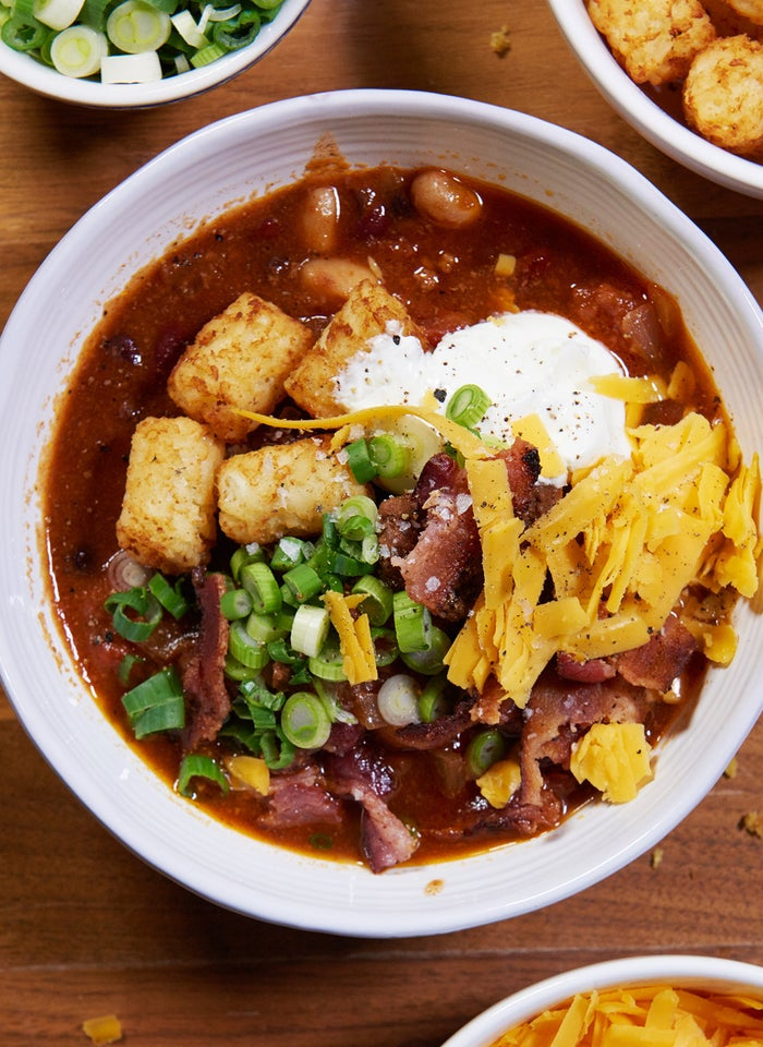 Yes, this chili is topped with tater tots, bacon, and cheese, thanks for asking.
