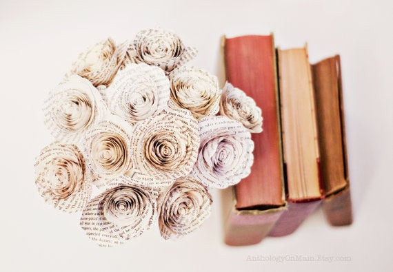 These forever flowers are made from the pages of Pride and Prejudice. Your book lover will keep these far longer than live roses and breathe deeply of the magical book smell always. Get them here.