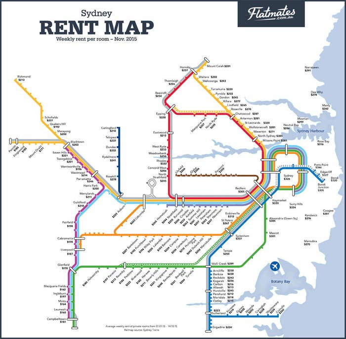 The maps were released by Flatmates.com.au, and the data is based on the average room price for listings on its website. According to the map, the most expensive Sydney suburb to rent is in Milson's Point on the north shore at $381 per week for a room. At $171 a week, the cheapest suburb is Mount Druitt in Sydney's west.According to the company's data, Sydney is 31% more expensive than Melbourne, 42% more expensive than Brisbane, Canberra and Perth and 63% higher than in Adelaide.