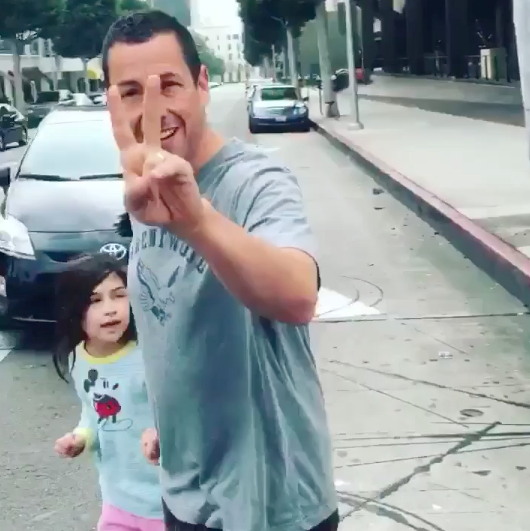 Famous Person Justin Bieber Randomly Ran Into Other Famous Person Adam Sandler On The Street