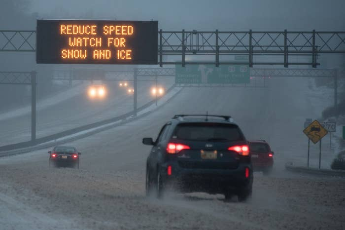 A highway in Greensboro, North Carolina, on Friday.
