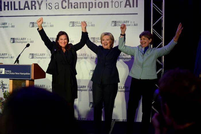 (L to R) Ilyse Hogue, President, NARAL Pro-Choice America, Democratic Presidential candidate Hillary Clinton, and U.S. Senator Jeanne Shaheen (D-NH).
