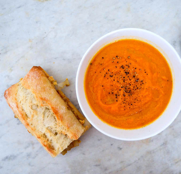 Thursday: Roasted Carrot Soup with Caramelized Onion & Hummus Sandwich