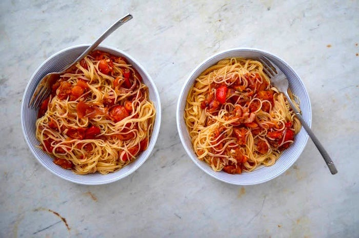 What's more satisfying than a hearty bowl of pasta covered in homemade roasted tomato and red pepper sauce? Nothing, probably. Click here to get the recipe.