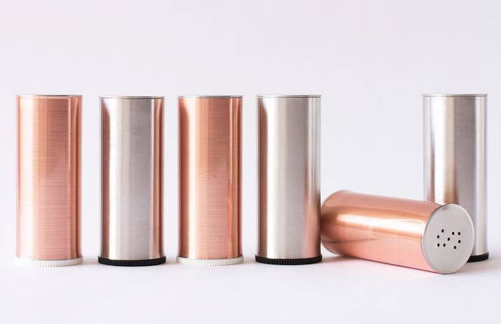 Wrap metallic contact paper around salt and pepper shakers for a ~luxe~  look.