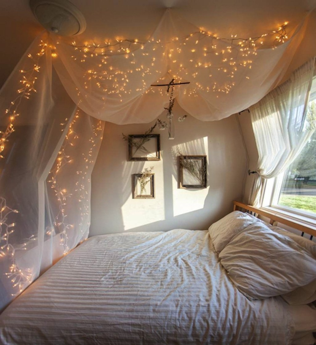 7. Add some string lights to create an extra whimsical effect. & 14 DIY Canopies You Need To Make For Your Bedroom