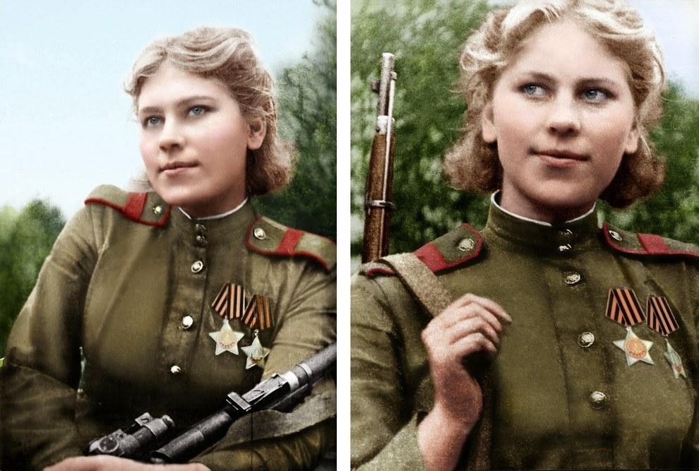 La francotiradora rusa de 19 años Roza Shanina después de sus 54 muertes confirmadas de Nazis durante la Segunda Guerra Mundial.