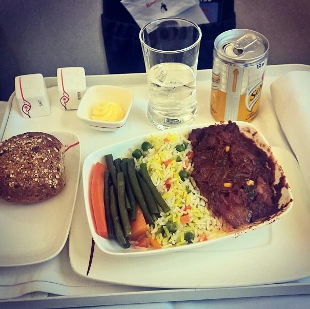 Dinner in business class: