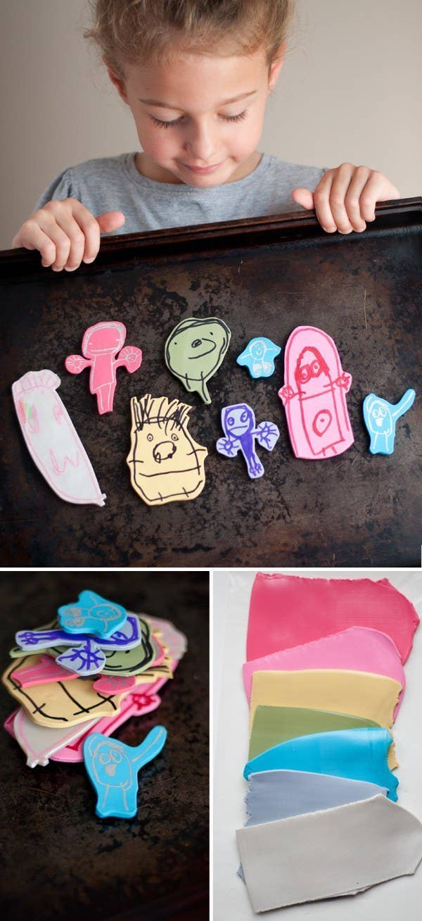 Then you can use those magnet to hang even *more* masterpieces.This tutorial shows you how to transfer their paper drawings onto polymer clay. Click here to learn how.