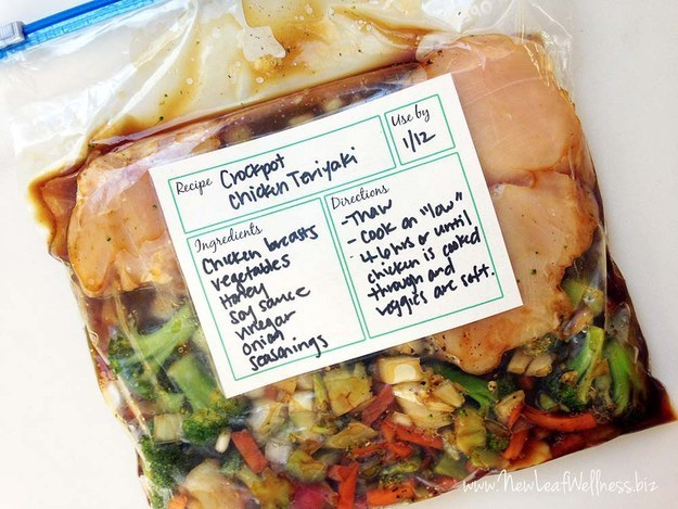 You can plan ahead by prepping entire meals and freezing them in a zip-top bag, so all you have to do is dump it all in and press start.
