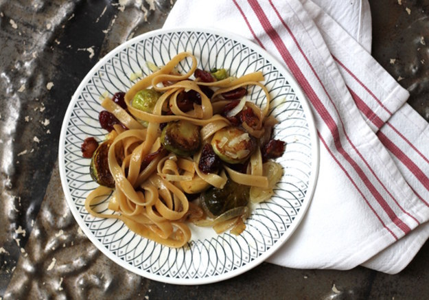 ... Fettuccine with Brussels Sprouts, Cranberries, and Caramelized Onion
