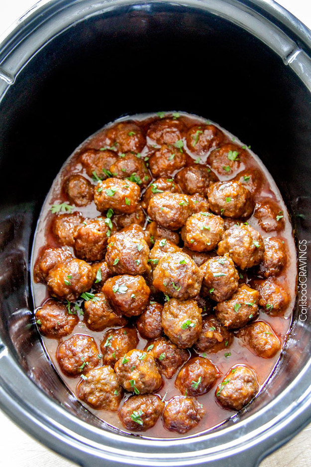 Heyyoooo, meatballs in the house. They're great served straight from the slow cooker because they stay extra hot and saucy.