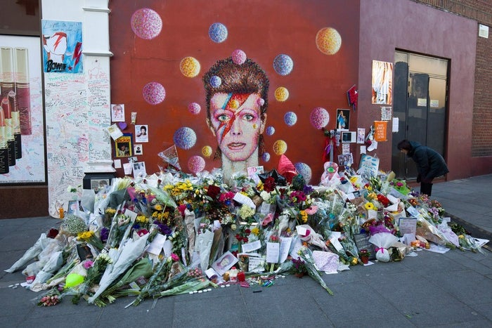 Floral tributes to David Bowie in Brixton, south London.