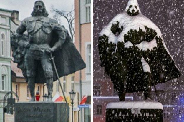 大雪が生んだ奇跡 銅像がダース...