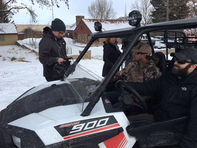 Members of the occupation use government off-road vehicles