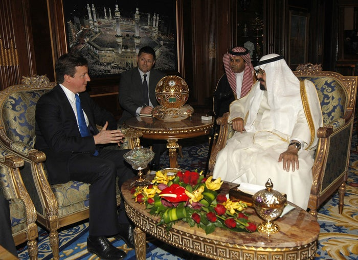 Saudi Arabia's King Abdullah (right) meets British prime minister David Cameron on 13 January 2012 in Riyadh, Saudi Arabia.