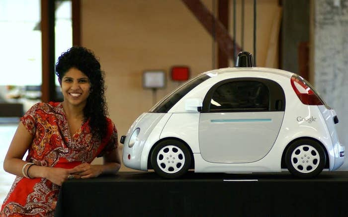 Karishma is the youngest hire at Alphabet's Google X's Moonshot Factory. She's their Rapid Evaluation Program Manager. Here she stands with a model of Google X's driverless car.