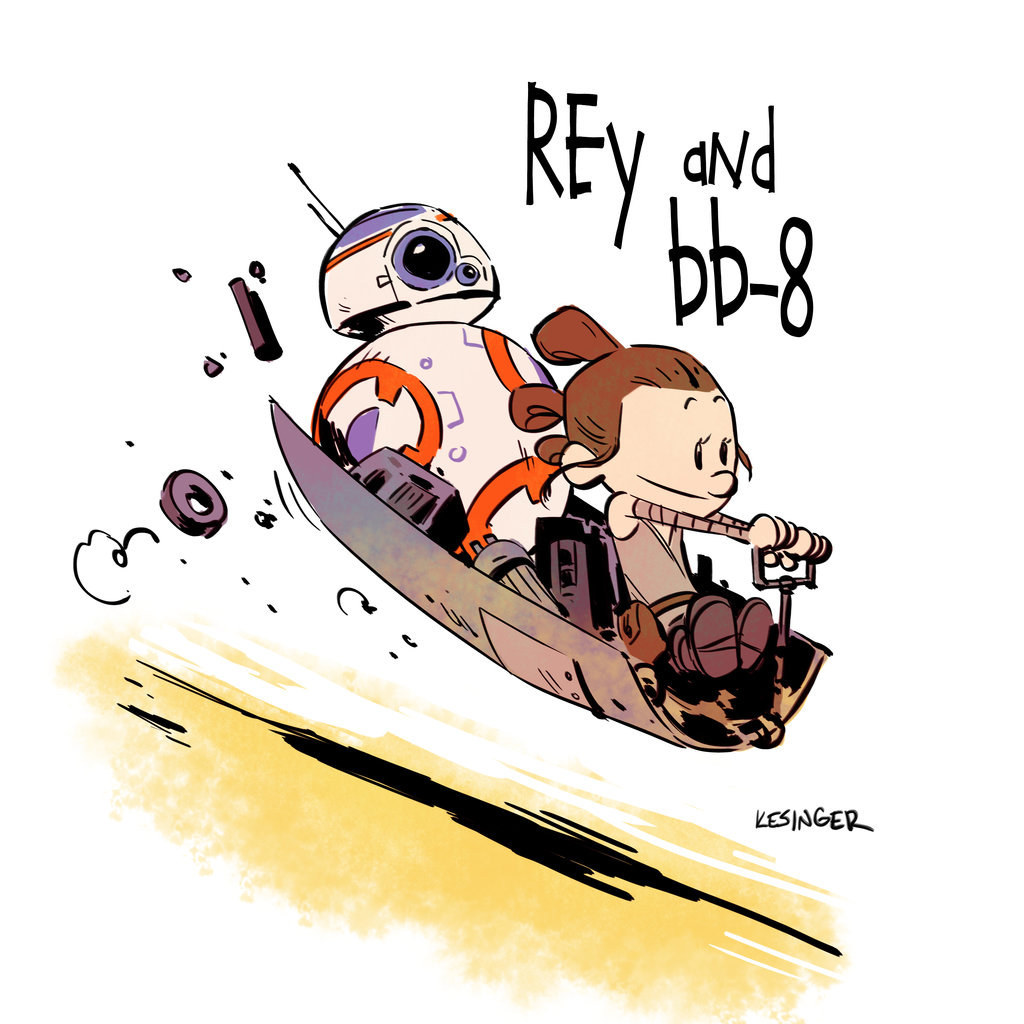 """Your Heart Will Melt When You See """"Star Wars: The Force Awakens"""" Characters As """"Calvin And Hobbes"""""""