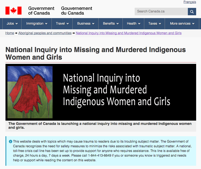 """""""This website deals with topics which may cause trauma to readers due to its troubling subject matter,"""" the note on the Indigenous and Northern Affairs Canada page reads. """"The Government of Canada recognizes the need for safety measures to minimize the risks associated with traumatic subject matter.""""It also offers a toll-free crisis hotline for anyone who """"is triggered and needs help or support while reading the content on this website."""""""