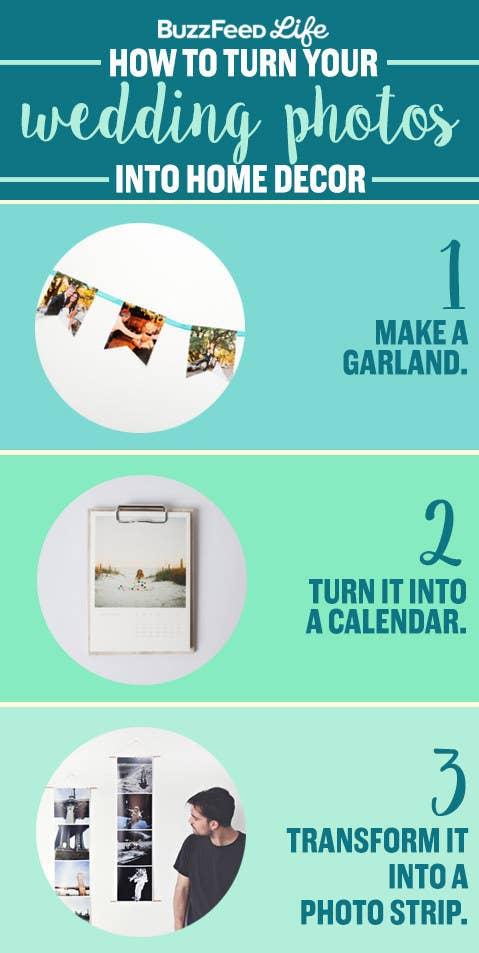Me gustaría vovler a usar mis hermosas fotos de boda. ¿Alguna idea?— Kiera A. Unas lindas fotos de boda merecen más que una vida oculta en una caja debajo de la cama. ¡Qué el mundo las vea! Una forma nueva de sacarlas a relucir es imprimirlas y hacer una linda guirnalda con la que puedes decorar la casa o usarla sólo en aniversarios. Consigue el instructivo completo aquí. También puedes convertir tus preciosas fotos en un calendario minimalista por $29,99. Ingresa aquí para hacer uno. Otra idea: convierte tus recuerdos en una llamativa obra de arte de pared con una tira de fotografías. Haz un conjunto de 2 por $20 aquí.