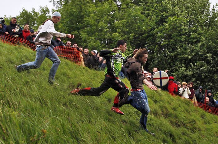 Who would've thought that a crowd of fearless competitors throwing themselves down a frightfully steep hill in pursuit of an eight-pound double Gloucester cheese could be turned into a competition?Well it has. And it's an annual thing. People continue to throw themselves down a hill every year for the Cooper's Hill Cheese-Rolling Competition in Gloucestershire. What a unique way to spend the spring bank holiday.
