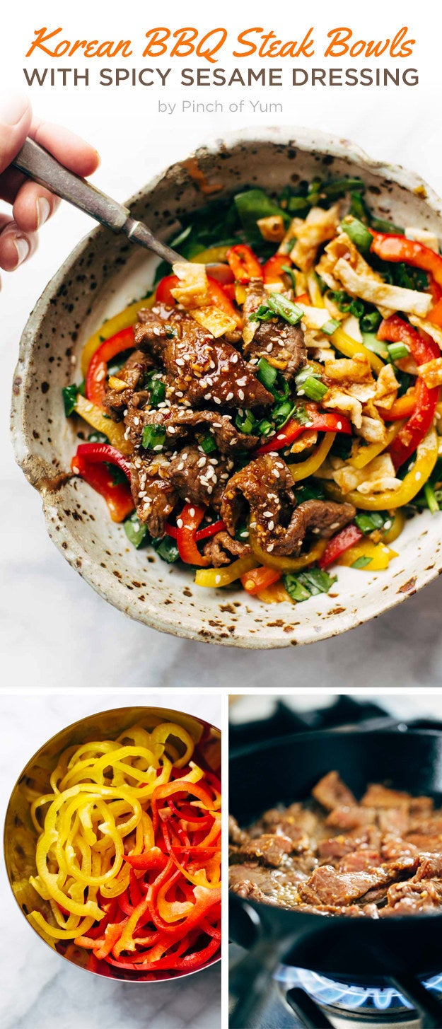 If one of your resolutions is to eat less meat but you're not ~quite~ ready to go full ham on that one (LOL, sorry), this bowl gets you all the flavor of a steak dinner with only 4 ounces of sirloin per person. You could even stretch this to more servings by adding rice to the bowls. Make the spicy sesame dressing up to a week ahead and refrigerate until using. Get the recipe here.
